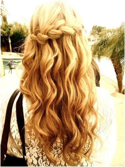 Waterfall Braid in Long Wavy Hair: Blonde Hairstyles