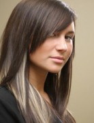 Long Straight Hairstyles, Peekaboo Hair Highlights