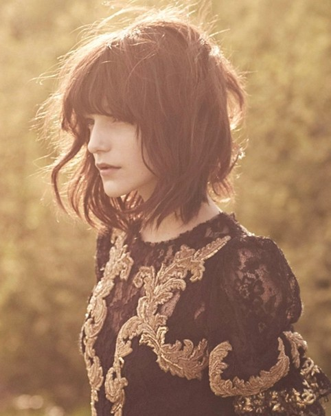 Medium Hairstyle for Blunt Bangs, Layered Haircuts