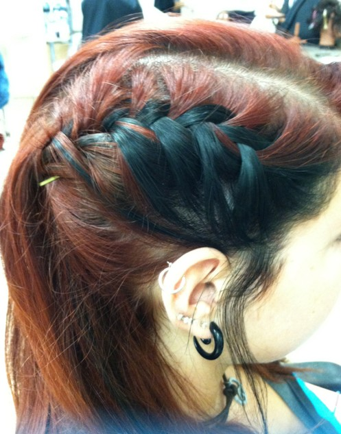 Red,Black Block Color for Side Braid Hairstyles