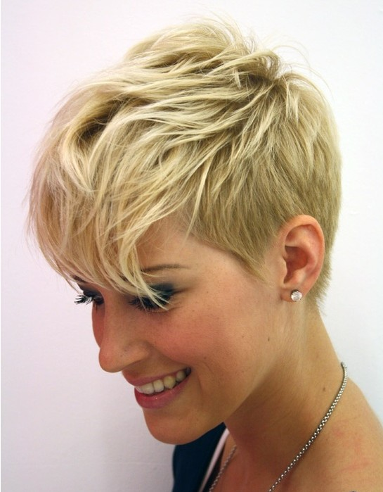 The silky short hairstyle is blow-dried smooth to show off the layers ...
