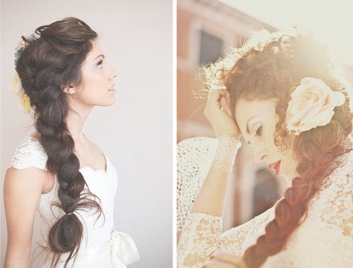 Braided flowy wedding hair
