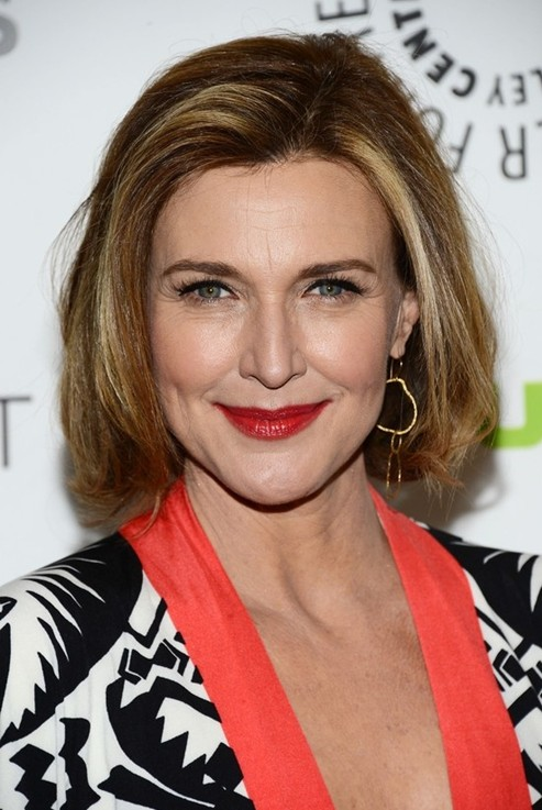 Brenda Strong Medium Short Hairstyles with Side Bangs