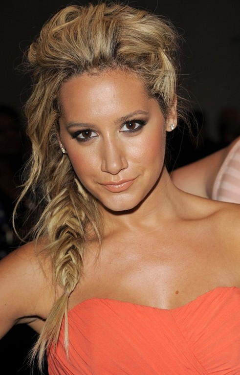 Messy, fishtail braided hairstyles: ashley tisdale hair popular.