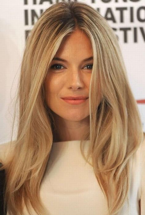 Sienna Miller Hair Style, Blonde Straight Hair