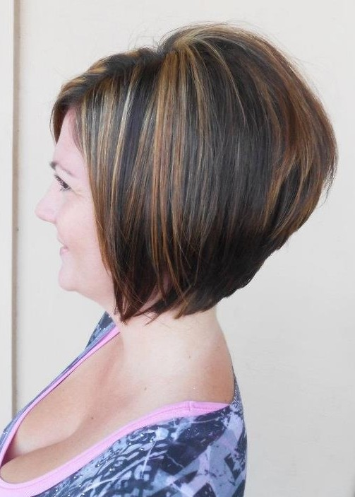 2014 Short Stacked Bob Haircut for Women Over 40