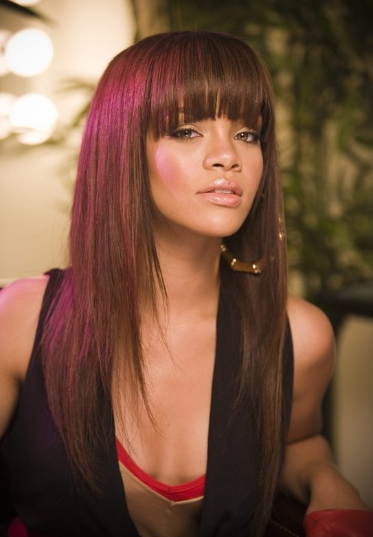 Straight Long Hairstyles with Bangs