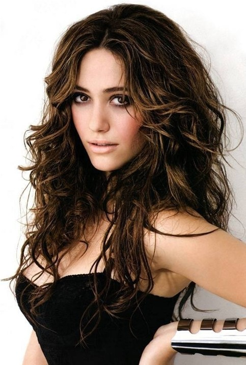 Astounding Brown Messy Hairstyle For Long Hair Emmy Rossum39S Hairstyles Short Hairstyles For Black Women Fulllsitofus