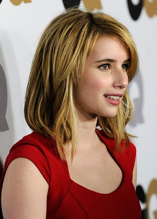 medium straight layered haircuts for 2014 emma roberts