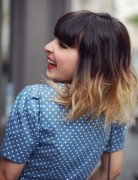 Ombre Hairstyles: Medium Haircut with Blunt Bangs