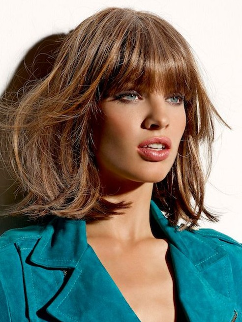 2014 Medium Hairstyles with Blunt Bangs