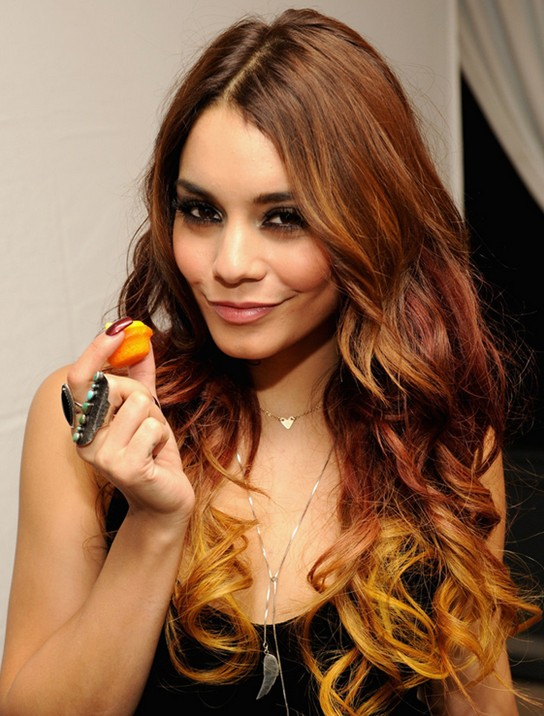 2014 Vanessa Hudgens Long Hairstyles Ombre Wavy Hair