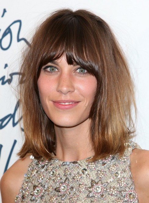 Alexa Chung Hairstyles Brown Medium Straight Haircut