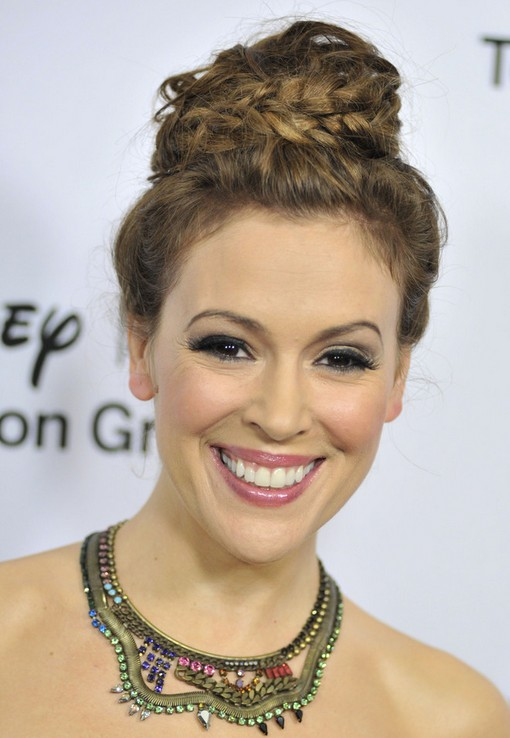 Alyssa Milano Bun Hairstyles: Braided Bun