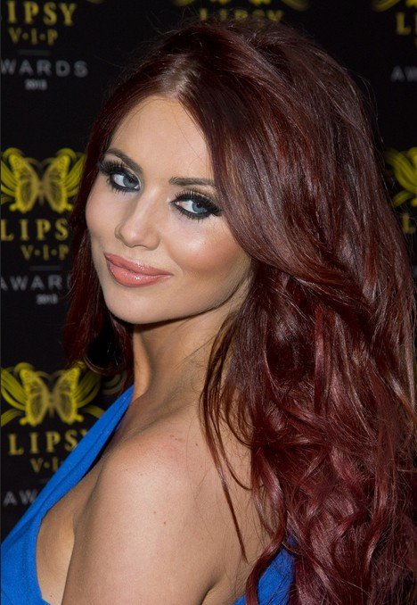 Amy Childs Hair Styles 2014: Red Long Wavy Hairstyle