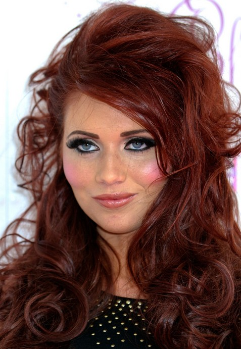 Amy Childs Long Hairstyles: Red Messy Hairstyle