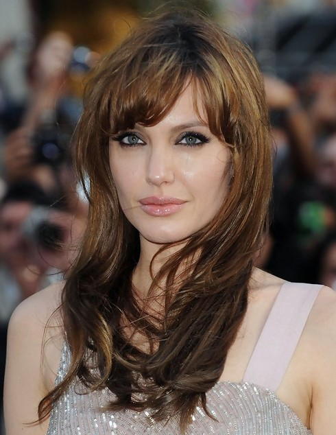 Angelina Jolie Hairstyles Long Hairstyle With Short Bangs Popular