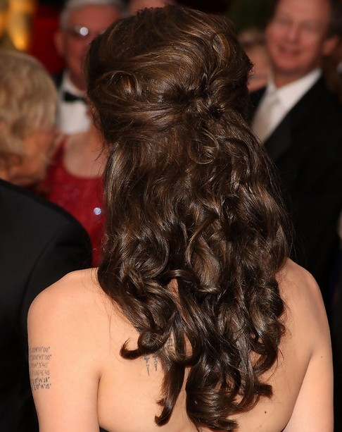 Angelina Jolie Long Hairstyles: Half Up Half Down Hairstyle for Curls