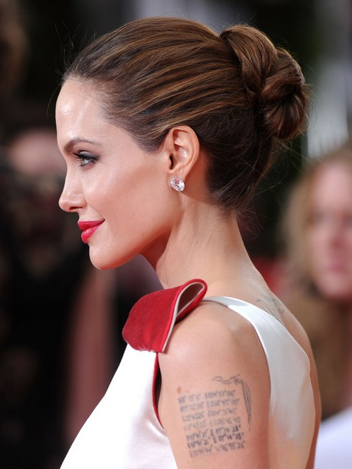 Angelina Jolie Long Hairstyles Tight Bun Updos Popular