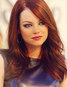 Emma Stone's Long Hairstyles: Red Straight Hair