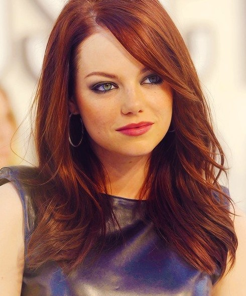 Emma Stone's Long Hairstyles: Red Straight Hair - PoPular ... | 490 x 590 jpeg 84kB