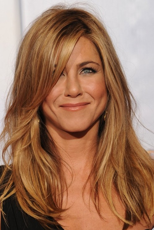 Jennifer Aniston Hairstyles Blonde Medium Straight Hair