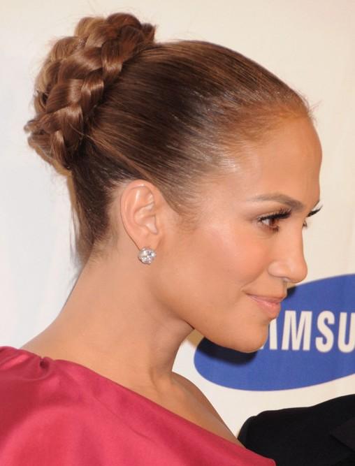 Jennifer Lopez Hair Styles: Braided Bun Updos