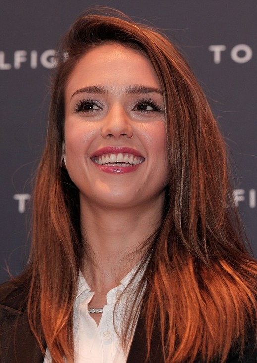 Jessica Alba Hairstyles: Red Long Straight Hairstyle