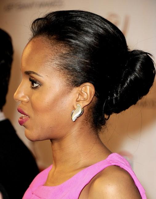 Kerry Washington Hairstyles: Bun Updos