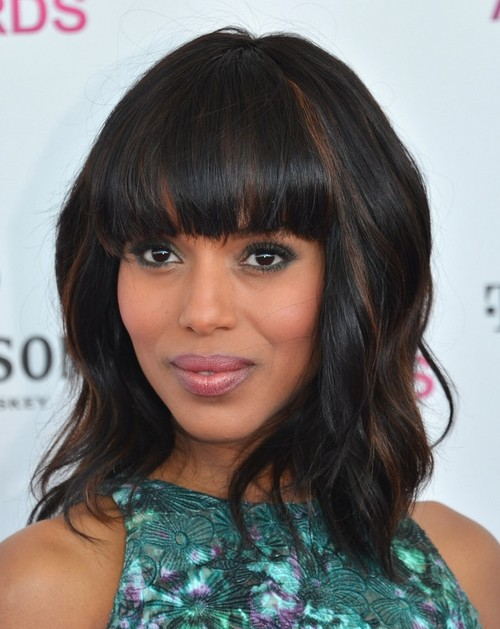 Kerry Washington Medium Haircut: Caramel Highlights