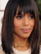 Kerry Washington Mid-length Hairstyles: Straight Haircut with Blunt Bangs