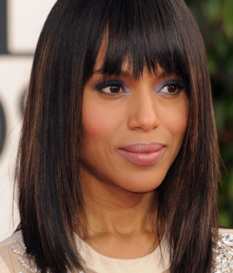 Kerry Washington Mid-length Hairstyles: Straight Haircut with Blunt ...