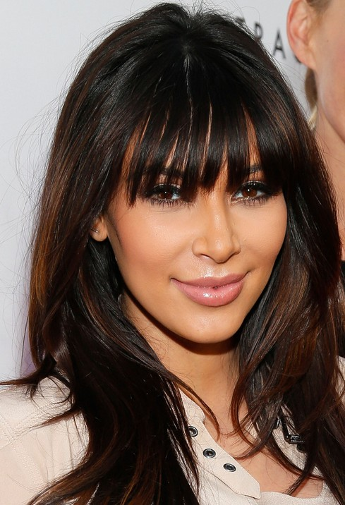 Kim Kardashian Haircuts: 2014 Long Hairstyles for Blunt Bangs