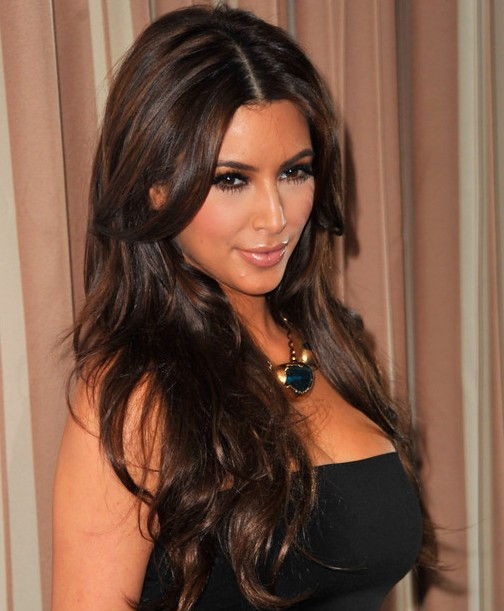 Kim Kardashian Hairstyles Center Parted Hairstyles For Long Wavy