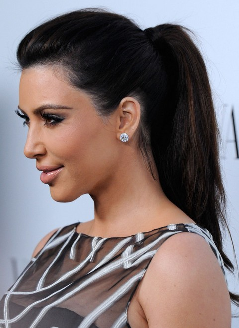 Kim Kardashian Hairstyles: Ponytail Hairstyle for Straight Long Hair