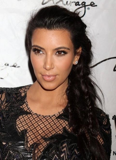 kim kardashian long hairstyles 2014 braided ponytail