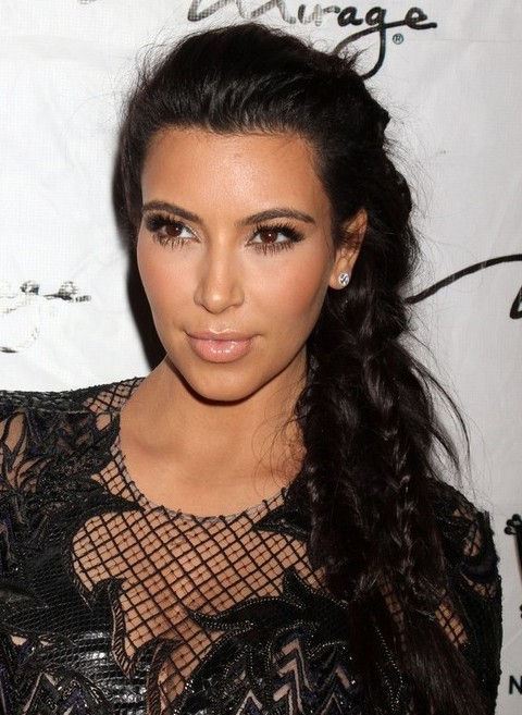 Kim Kardashian Long Hairstyles: Chic Braided Updo Hair Style