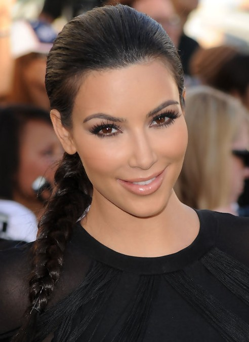 Kim Kardashian Long Hairstyles Beautiful Side Braid