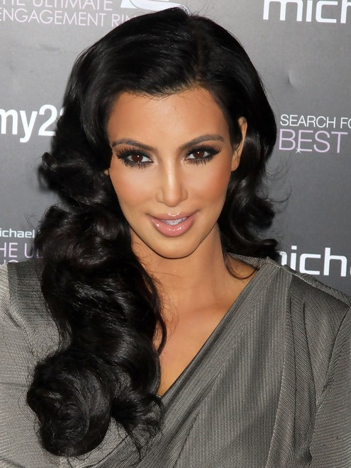 Kim Kardashian Long Hairstyles Big Curls Popular Haircuts