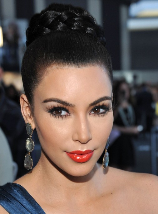Kim Kardashian Long Hairstyles Braided Updo Popular