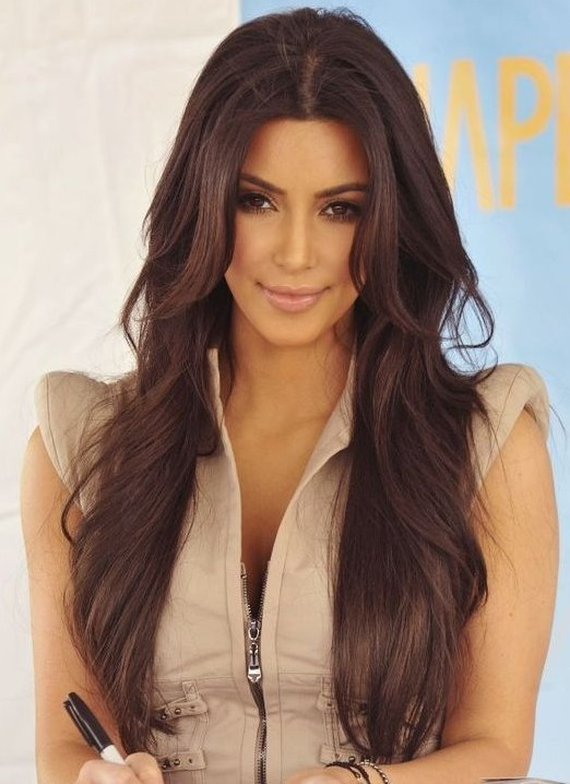 Kim Kardashian Long Hairstyles: Brown Hair