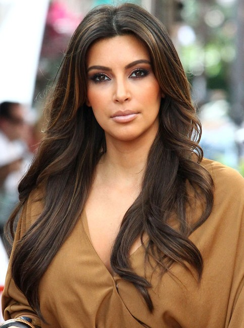 Kim Kardashian Long Hairstyles: Center-Parted Hairstyles