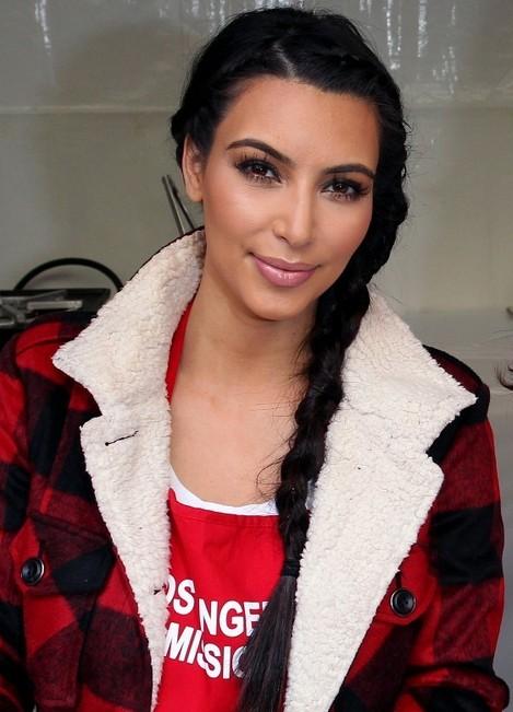 Kim Kardashian Long Hairstyles - Easy Side Braided Hairstyle