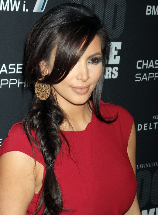 Kim Kardashian Long Hairstyles - French Fishtail Braids