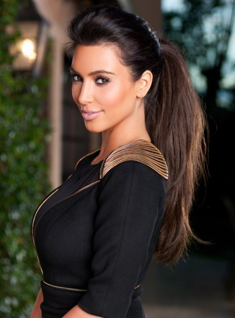 Kim Kardashian Long Hairstyles: High Ponytail Hairstyle