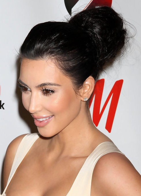 Kim Kardashian Long Hairstyles: High Voluminous Updo Hairstyle