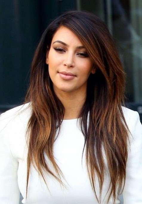 Kim Kardashian Long Hairstyles Ombre Hairstyles For Straight