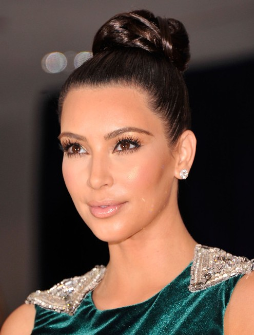 Kim Kardashian Long Hairstyles: Tight Bun Updos