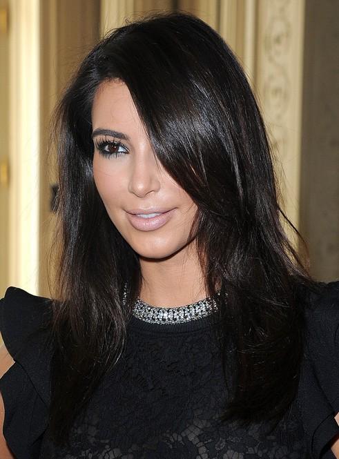 Kim Kardashian Medium Hairstyles Casual Black Hair