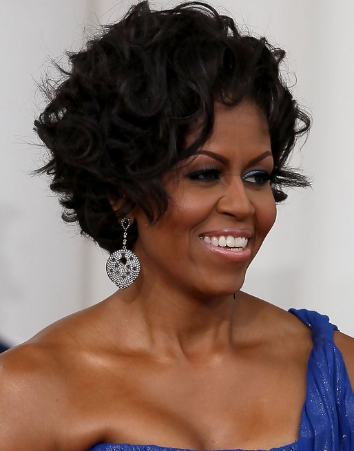 Michelle Obama Hairstyles: Short Curly Haircut